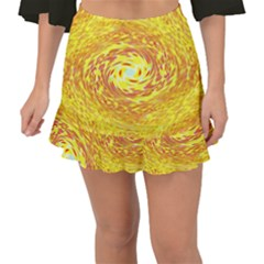 Yellow Seamless Psychedelic Pattern Fishtail Mini Chiffon Skirt