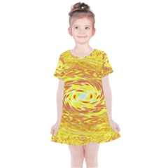 Yellow Seamless Psychedelic Pattern Kids  Simple Cotton Dress