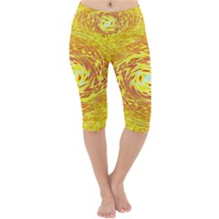Yellow Seamless Psychedelic Pattern Lightweight Velour Cropped Yoga Leggings