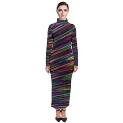Texture Colorful Abstract Pattern Turtleneck Maxi Dress