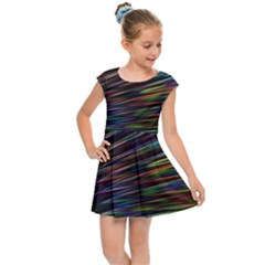 Texture Colorful Abstract Pattern Kids Cap Sleeve Dress