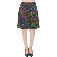 Texture Colorful Abstract Pattern Velvet High Waist Skirt