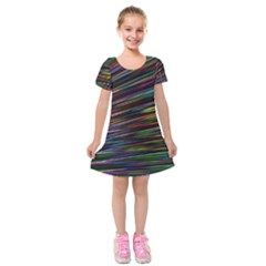 Texture Colorful Abstract Pattern Kids  Short Sleeve Velvet Dress by Jojostore