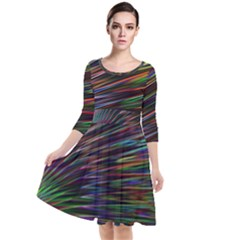 Texture Colorful Abstract Pattern Quarter Sleeve Waist Band Dress