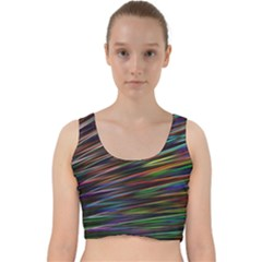 Texture Colorful Abstract Pattern Velvet Racer Back Crop Top