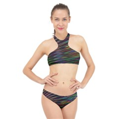 Texture Colorful Abstract Pattern High Neck Bikini Set by Jojostore