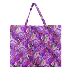 Flowers Abstract Digital Art Zipper Large Tote Bag by Jojostore