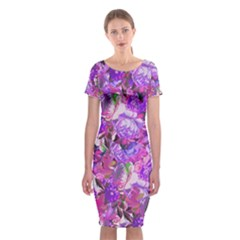Flowers Abstract Digital Art Classic Short Sleeve Midi Dress