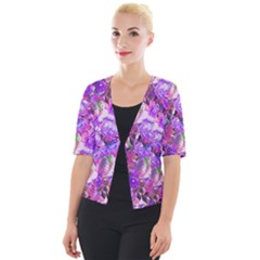 Flowers Abstract Digital Art Cropped Button Cardigan