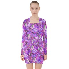 Flowers Abstract Digital Art V Neck Bodycon Long Sleeve Dress