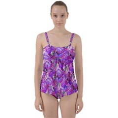 Flowers Abstract Digital Art Twist Front Tankini Set