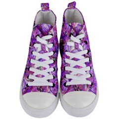 Flowers Abstract Digital Art Women s Mid Top Canvas Sneakers