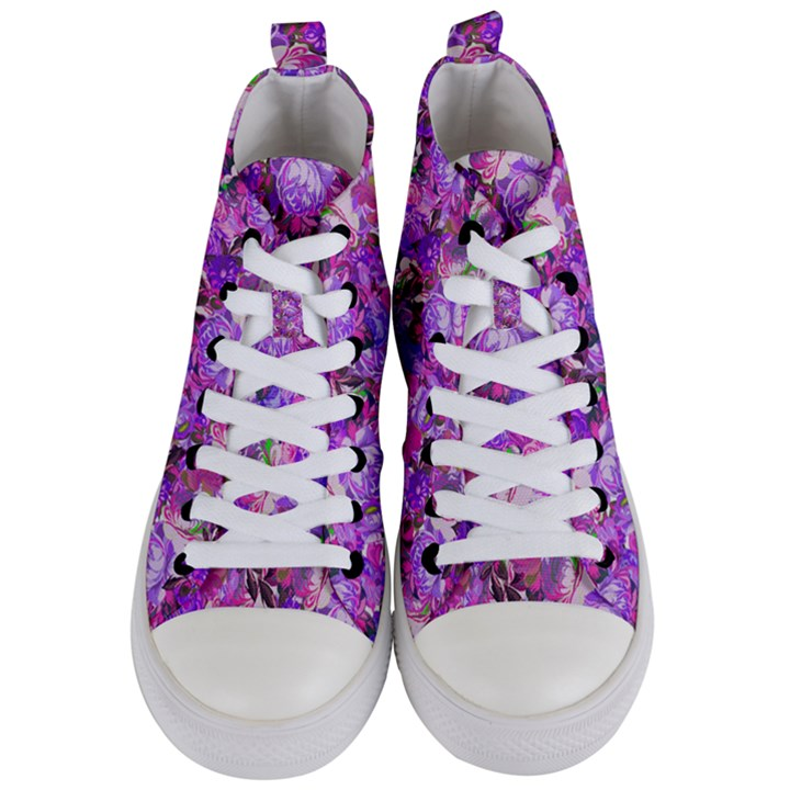 Flowers Abstract Digital Art Women s Mid-Top Canvas Sneakers