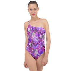 Flowers Abstract Digital Art Classic One Shoulder Swimsuit