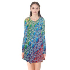 Bubbles Rainbow Colourful Colors Long Sleeve V Neck Flare Dress