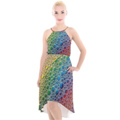 Bubbles Rainbow Colourful Colors High Low Halter Chiffon Dress