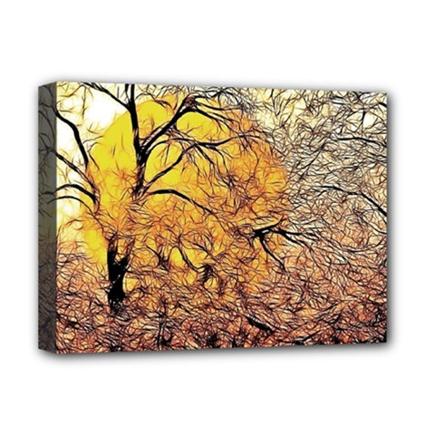 Summer Sun Set Fractal Forest Background Deluxe Canvas 16  X 12  (stretched)  by Jojostore