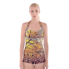 Summer Sun Set Fractal Forest Background Boyleg Halter Swimsuit