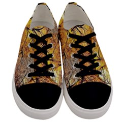 Summer Sun Set Fractal Forest Background Men s Low Top Canvas Sneakers