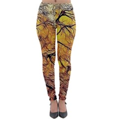Summer Sun Set Fractal Forest Background Lightweight Velour Leggings
