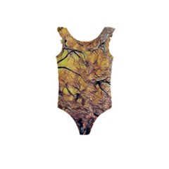 Summer Sun Set Fractal Forest Background Kids  Frill Swimsuit