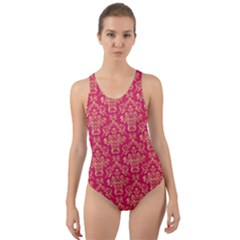Damask Background Gold Cut Out Back One Piece Swimsuit by Jojostore