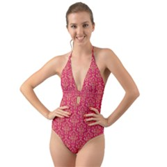 Damask Background Gold Halter Cut Out One Piece Swimsuit