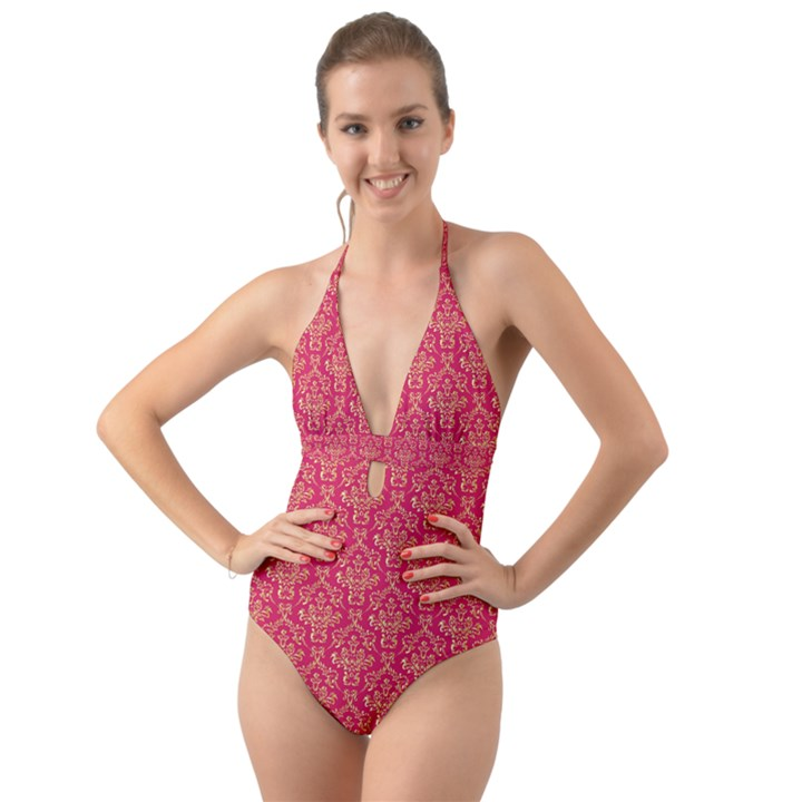 Damask Background Gold Halter Cut-Out One Piece Swimsuit