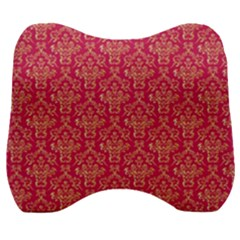 Damask Background Gold Velour Head Support Cushion by Jojostore