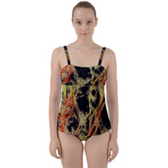 Artistic Effect Fractal Forest Background Twist Front Tankini Set