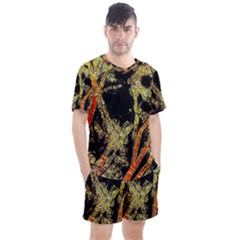 Artistic Effect Fractal Forest Background Men s Mesh Tee And Shorts Set