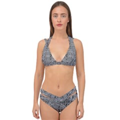 Gray Psychedelic Background Double Strap Halter Bikini Set by Jojostore