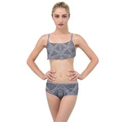 Gray Psychedelic Background Layered Top Bikini Set by Jojostore