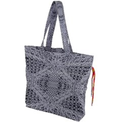Gray Psychedelic Background Drawstring Tote Bag