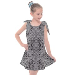 Gray Psychedelic Background Kids  Tie Up Tunic Dress
