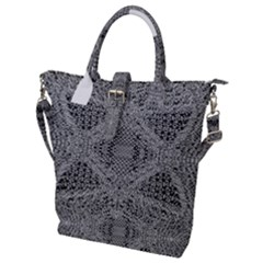 Gray Psychedelic Background Buckle Top Tote Bag