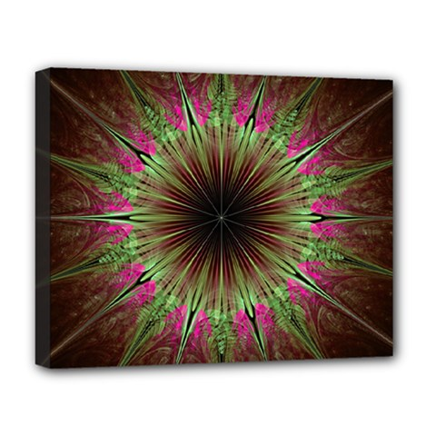 Julian Star Star Fun Green Violet Deluxe Canvas 20  X 16  (stretched) by Jojostore