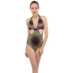 Julian Star Star Fun Green Violet Halter Front Plunge Swimsuit