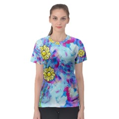 Backdrop Background Flowers Women s Sport Mesh Tee