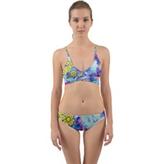 Backdrop Background Flowers Wrap Around Bikini Set