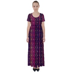 Colorful And Glowing Pixelated Pixel Pattern High Waist Short Sleeve Maxi Dress by Jojostore