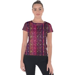Colorful And Glowing Pixelated Pixel Pattern Short Sleeve Sports Top