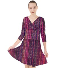 Colorful And Glowing Pixelated Pixel Pattern Quarter Sleeve Front Wrap Dress