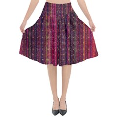 Colorful And Glowing Pixelated Pixel Pattern Flared Midi Skirt