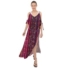 Colorful And Glowing Pixelated Pixel Pattern Maxi Chiffon Cover Up Dress