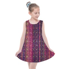 Colorful And Glowing Pixelated Pixel Pattern Kids  Summer Dress by Jojostore