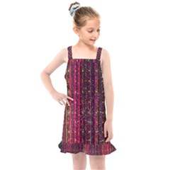 Colorful And Glowing Pixelated Pixel Pattern Kids  Overall Dress