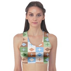 Fabric Textile Textures Cubes Sports Bra by Jojostore