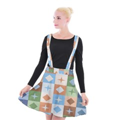 Fabric Textile Textures Cubes Suspender Skater Skirt