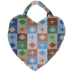 Fabric Textile Textures Cubes Giant Heart Shaped Tote